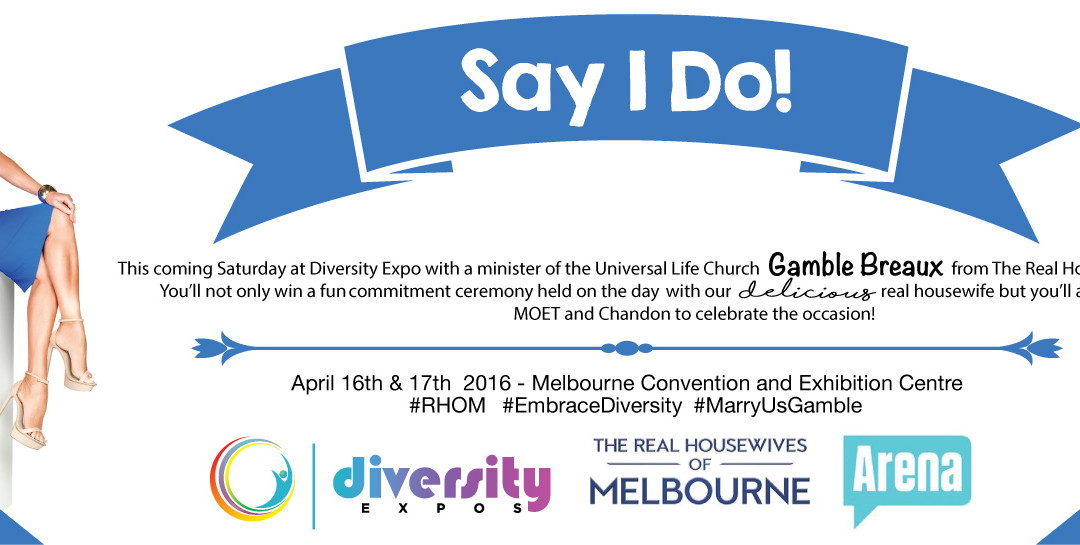 Real Housewives of Melbourne –  Gamble Breaux  at Diversity Expo – Gamble for the competition!